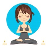 9457716-cute-brunette-woman-doing-yoga-lotus-position-with-two-candles-on-side