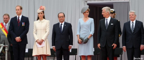 Britain's Prince William, Catherine, Duchess of Cambridge, French President Hollande, Queen Mathilde of Belgium, King Philippe of Belgium and German President Joachim Gauck attend a ceremony at the Cointe Inter-allied Memorial in Liege